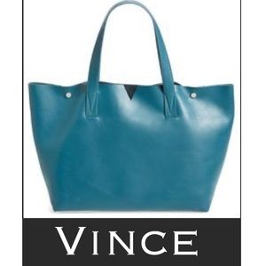 Authentic Vince large teal leather tote bag purse